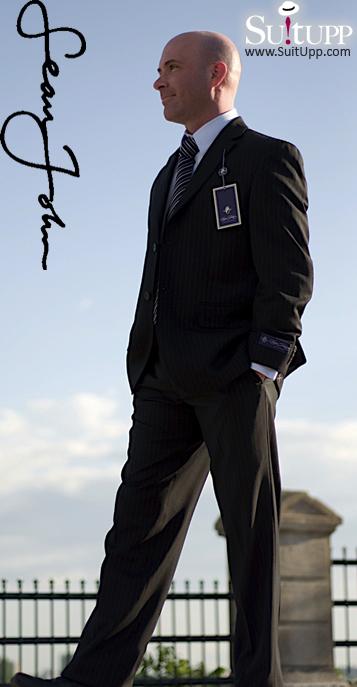 Sean John - Black Pinstripe 2 Piece Suit